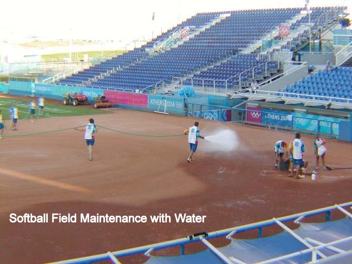 Softball Field Maintenance with Water Captioned